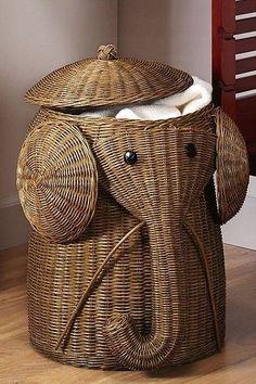 elephant hamper! 16 in. W Animal Laundry Hamper in Natural