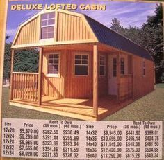 Deluxe Lofted Cabin - new. Shed To Tiny House, Tiny House Cabin, Tiny House Living, Tiny House Design, Small House Plans, Barn Living, Lofted Barn Cabin, Shed Cabin, Cabin Kits