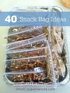 40 Snack Bag Ideas - Save time, money and your sanity by making up snack bags for the kids ahead of time!