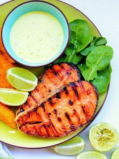 Yummy & Healthy Marinaded Salmon Recipe With Lime Dressing -