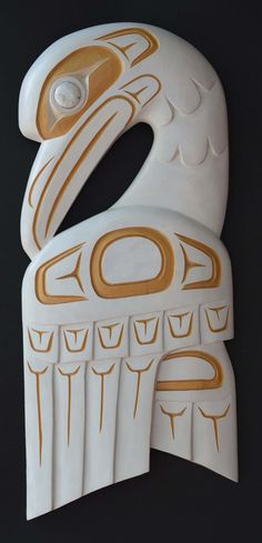 Carvings at the Spirit Gallery : Horseshoe Bay, West Vancouver George Stokes White Raven Plaque 19""