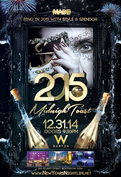 MidnighToast NYE 2015 is the top 2015 First Night party in Boston happening Wednesday, December 31st 2014. Get ready for an evening of ultimate indulgence and sophistication coupled with glitz and glamour in celebration of MidnighToast at W Boston Hotel, 100 Stuart Street in Boston, MA 02116.  Party-goers have access to two floors of entertainment, which includes multiple swanky bars, VIP Room, Studios, Great Room and Pre-Function providing for an enormous and lavish party.