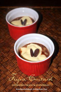 Feijoa custard with chocolate & cointreau Stewed Fruit, Melting Chocolate, Custard, Eat, Awesome, Recipes, Food, Cream, Melt Chocolate