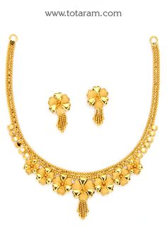 22K Gold Necklace & Earrings Set Real Gold Jewelry, Gold Jewelry Simple, Gold Jewelry For Sale, Buy Gold Jewellery Online, 1 Gram Gold Jewellery, Solid Gold Jewelry, Gold Bangles Design, Gold Earrings Designs, Necklace Designs