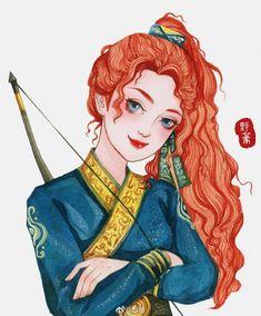 Khi các nàng công chúa Disney xuyên không đến Trung Quốc thời cổ đại Disney Princess Facts, Disney Fun Facts, Princess Art, Princess Merida, Funny Disney, Arte Disney, Disney Fan Art, Disney Magic, Disney Disney