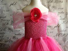 HANDMADE Sleeping Beauty AURORA Disney Princess PINK Super Soft Tulle Tutu Halloween Costume Dress Skirt Girls Baby Dress-Up Custom Crochet