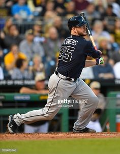 Tyler Flowers of the Atlanta Braves bats against the Pittsburgh Pirates on May 19, 2016 at PNC Park in Pittsburgh, Pennsylvania.