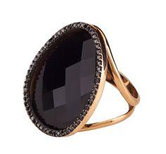 Anel de ouro rose com Onix e Diamantes negros