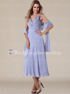 Sleeveless Tea Length Chiffon Mother of The Bride Dress MO053N  Remove jewel at bodice  Many colors