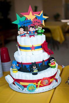 "I am totally doing this for Bruce's baby shower - superhero diaper ""cake"""
