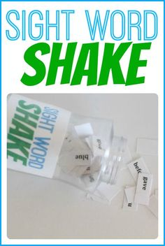 Quick and easy sight word practice!   Play the game:  Shake the container and then dump out several of the sight word pieces onto a flat surface.  Have your child read the words that fall face-up only.  The words that are face-down do not have to be read.  Put all the sight word pieces back and do it again!