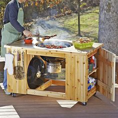 Woodworking Designs Grilling Center Woodworking Plan from WOOD Magazine Small Woodworking Projects, Popular Woodworking, Diy Wood Projects, Fine Woodworking, Woodworking Crafts, Woodworking Classes, Woodworking Supplies, Woodworking Machinery, Woodworking Techniques