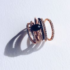 Aristides Fine Jewels / Ring Stack / Engagement Rings / Wedding bands / Rose Gold / Black diamond / Fine Jewelry / Wedding Style Inspiration / The LANE