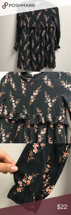 Zara Girls Black Ruffle Floral Long Sleeve Dress Great used condition. Zara Dresses Casual