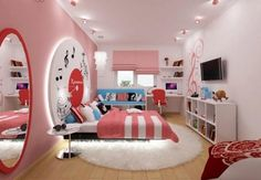 les murs roses dans la chambre d'adolescente