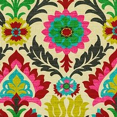 Santa Maria Desert Suzani Drapery Fabric by Waverly.  Aren't these colors amazing? I could see them as cushions on my red couch.