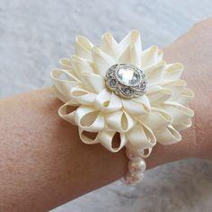 Wrist Corsage Bridesmaid Corsage Ivory Flower by PetalPerceptions
