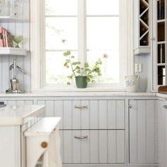 Coastal cottage powder blue rustic kitchen