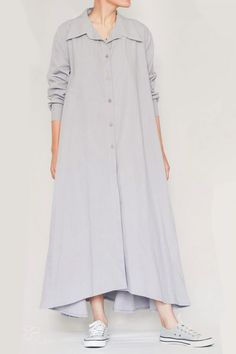 Linen Ayni Dress by LINUM - Linen Style-10 Linenstyle Duster Coat, Dresses With Sleeves, Shirt Dress, Long Sleeve, Nature, Jackets, Shirts, Clothes, Style