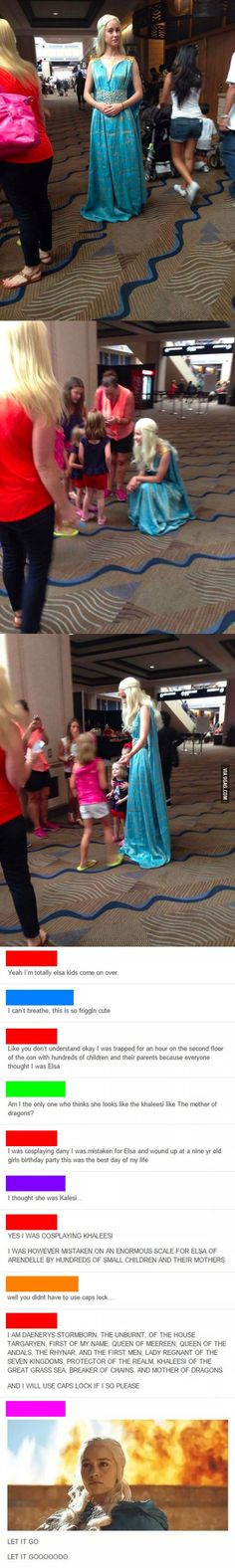 Cosplayer gets mistaken for Elsa, plays along for the kids.