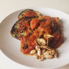 eggplant parm with spaghetti squash  and homemade tomato sauce