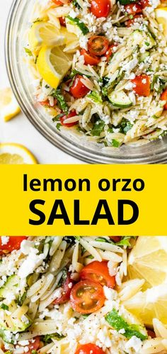 Healthy LEMON ORZO SALAD that's both light and refreshing. It uses fresh produce plenty of lemon juice to add flavor to this dish and it can be enjoyed hot or cold! Veggie Recipes, Lunch Recipes, Salad Recipes, Cooking Recipes, Healthy Recipes, How To Cook Orzo, How To Cook Sausage, Healthy Side Dishes, Vegetable Side Dishes