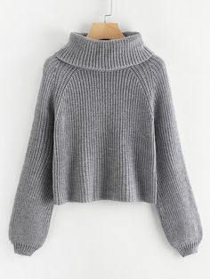Shop Plus Rolled Neck Raglan Sleeve Sweater online. SHEIN offers Plus Rolled Neck Raglan Sleeve Sweater & more to fit your fashionable needs. Kinder In Not, Plus Size Sweaters, Grey Fashion, Fashion Fashion, Vintage Fashion, Sweater Fashion, Roll Neck, Mode Style, Sweater Weather