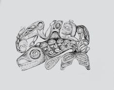 Caption: offset lithograph print, 55.9 x 64 cm, SFU Bill Reid Collection, Vancouver; Credit: SFU Bill Reid Collection, Bill and Martine Reid Founding Collection (2002.1.55d). Courtesy of the Bill Reid Gallery of Northwest Coast Art, Vancouver. © Bill Reid Estate; Iljuwas Bill Reid | Art Books | Art Canada Institute; #billreid #canadianartist #indigenousartist #northwestcoast #haida #lithograph Bill Reid, Red Cedar Wood, Visual Puns, Human Figure Drawing, Old Love, Anglo Saxon, Ways Of Seeing, Canadian Artists, Book Art
