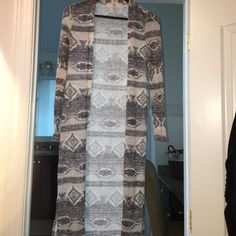 Long tribal print cardigan Excellent condition. Worn only once. Cream and gray colors. Pink republic Sweaters Cardigans