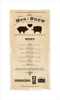 A poster I designed for a chefs' and brewers dinner at The Farm House Cafe in San Diego.