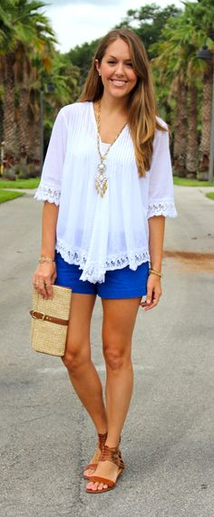 This is another great outfit. I love this blouse. I've been looking for a white blouse that's great for summer and flattering. Please send this.