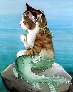 Mercat by Susan Herbert omg, my two favourite things cats and mermaids.