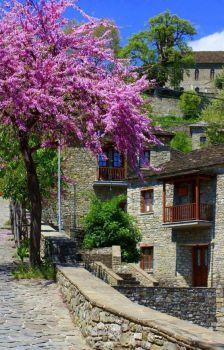 Spring at Konitsa town, Ioannina region, Epirus, Greece Beautiful Islands, Beautiful World, Beautiful Places, Myconos, Greece Pictures, Places In Greece, Paradise On Earth, Greece Islands, Corfu