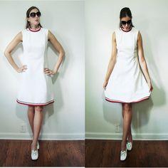 Vintage 1960s MOD White Swirl Pattern Red & Blue Tennis Dress Small by MyGrayCatVintage, $28.00