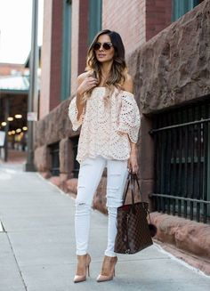 Off The Shoulder Shopbop Off-The-Shoulder Pink Lace Top (wearing a US 2) // Topshop White Jeans via Nordstrom (wearing a size 25 – size up) // Louis Vuitton 'Neverfull MM' Bag // Free People Sunglasses //Christian Louboutin 'So Kate' Heels (more...