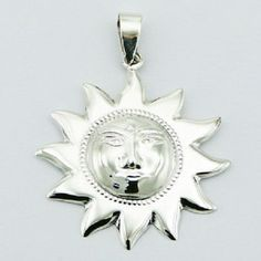 Silver pendant hand crafted 925 sterling silver shiny sun 44mm height new PSA
