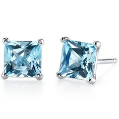 Peora.com - 14 kt White Gold Princess Cut 2.50 ct Swiss Blue Topaz Earrings E18506, $104.99 (http://www.peora.com/14-kt-white-gold-princess-cut-2-50-ct-swiss-blue-topaz-earrings-e18506/)