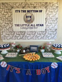 Baseball baby shower dessert table