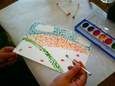Pointillism - only we used q-tips, pencil eraser ends, paintbrush ends, pencil tips and tooth-picks to get different sizes/details.