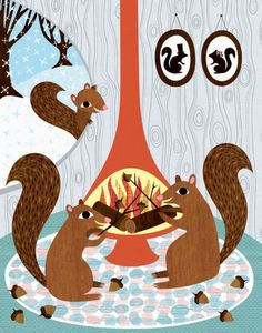 Squirrels Roasting Acorns originally titled Acorns Roasting on an Open Fire illustration by Lisa DeJohn