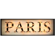 J.G. Mercantile Light Up Paris ($399) ❤ liked on Polyvore featuring home, home decor, wall art, paris, text, backgrounds, words, filler, quotes and phrase
