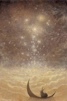 Toshio Ebine artist painting stars - Beauty will save Art And Illustration, Illustrations, Lapin Art, Drawn Art, My Sun And Stars, Bunny Art, Moon Art, 3 Moon, Moon Shine