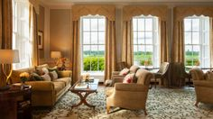 View photos and videos of Four Seasons Hotel Hampshire, a dog-friendly luxury five-star English country house hotel near London. Country Hotel, Country House Hotels, Four Seasons Hotel Hampshire, Sage Living Room, Luxury Hotel Design, Luxury Hotels, Hotels And Resorts, Fine Dining, Lounge
