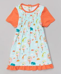 Look what I found on #zulily! Blue & Coral Jungle Organic Smocked Tee - Infant, Toddler & Girls by Origany #zulilyfinds
