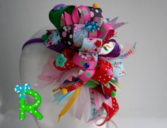 Funky loopy bow  Crazy hair bow  party hair by RoshelysBowtique