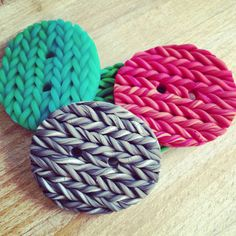 Polymer clay knitted button brooch