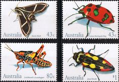 Australia 1991 Insects Set Fine Mint SG 1287 90 Scott 1211 4  Other Australian Stamps HERE