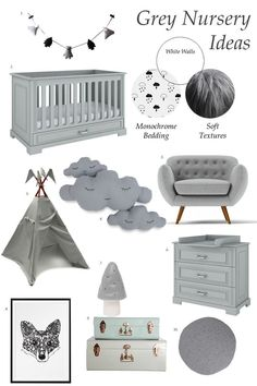 The Only Girl in the House Blog gives great interiors inspiration for grey nursery, gray nursery, baby room, baby bedroom, kids bedroom. collage moodboard. Grey cot bed, cloud cushion, teepee, fox print, muchroom lamp, chest of drawers.