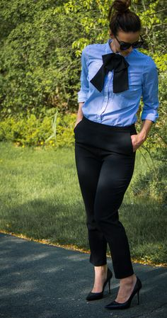 Work Wear Outfits - Bow Tie Outfits - Fashion for Women - Bow Tie- heartandseam.com #heartandseam #bowtie