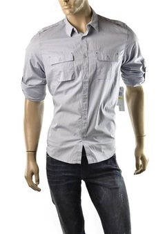 Calvin Klein Shirt Mens Roll Up Sleeve Utility Button Up T Shirts Size S NEW #CalvinKlein #ButtonFront